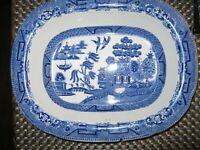 Vintage Beautiful Blue Willow English Ridgeway Semi China Serving bowl 1832 #27