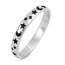 .925 Sterling Silver Moon And Stars Fashion Band Ring Size 2-12 NEW