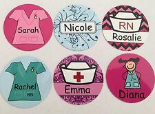 Personalised Nurse Design Badges -60 Designs - Faces, Scrubs Add your Name Badge
