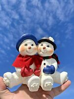 Vintage FROSTY The SNOWMAN and the MRS So Cute Nice & Heavy Statue 6/7 ❤️sj11h1s