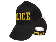 Black and Gold Police Law Enforcement 3D Letter Baseball Hat Cap