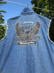 RARE Harley-Davidson Legendary Eagle BlackOut Denim Vest Altitude 96024-07VM UH