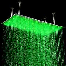 "20""x 40"" LED Stainless Steel Rectangle Rain Shower Head Bathroom Brushed Nickel"