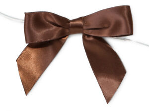 12 Chocolate Brown Satin Ribbon Bows Twist Ties Holiday Crafts Favors Gifts