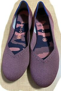 Rothys Womens Sz 10.5 The Flat Rose Double Stitch Pink Slip On Washable Shoes