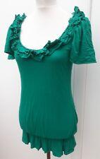 Dorothy Perkins Ladies Size 10 Jade Green Long Tunic Top Summer Fashion Wear