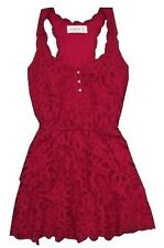 190$ NWT Abercrombie&fitch by Hollister Women Zoe Sun Dress Battenburg pink  M/L