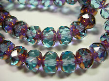 25 beads - 8x6mm Sapphire with Bronze Czech Firepolished Rondelle beads