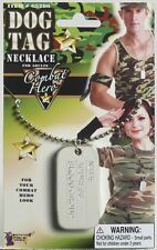 Dog Tag Necklace Silver Military Army Fancy Dress Up Halloween Costume Accessory
