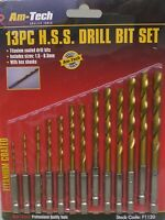 Drill Bits Set 13pc Hss Hex Shanks Titanium Coated Cordless Screwdriver Fitting