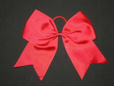 "NEW ""RED"" Cheer Bow Pony Tail 3 Inch Ribbon Girls Hair Bows Cheerleading Dance"