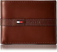 NEW TOMMY HILFIGER BILLFOLD BROWN LEATHER PASSCASE MEN WALLET CREDIT CARD ID