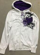 Men's Fox Racing Sz Small Hoodie White/Purple Hooded Sweatshirt