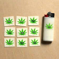 Marijuana 420 pot sticker pack lighter buddies (5 stickers) clear vinyl leaf