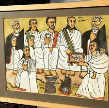 Antique Vintage Persian Ottoman Male Subject Watercolor Painting Framed Arabic