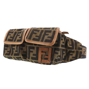 FENDI Zucca Used Waist Bag Brown Black Nylon Canvas Leather Authentic #BC97 Y