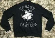 Crooks & Castles Mens Varsity Sweater Black Snaps Letterman Jacket Sz S