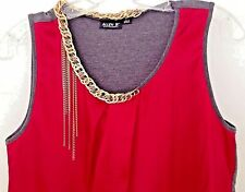Allen B Top Gold Chain Embellished Sleeveless Blouse Women size Small