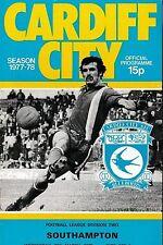 Football Programme>CARDIFF CITY v SOUTHAMPTON Mar 1978