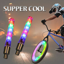 2PCS Bicycle Wheel Tire Valve Spoke 32 Changes Neon Cap 5 LED Bike Lights