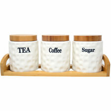 Set of 3 Ceramic Canisters Storage Pots Tea Coffee Sugar Jar Wooden Tray & Lids
