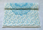 Blue Floral Mandala Baby Quilt Handmade Reversible Coverlet Soft Babies Quilts