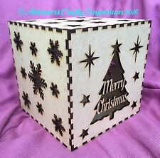 Christmas Tree Mdf Wood lamp night Light Shadow Box Cube 15cm/150mm Wooden Craft