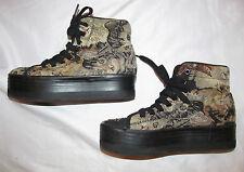 JEFFREY CAMPBELL JC PLAY HIYA CAT TAPESTRY lace up platform vegan boots shoes 8