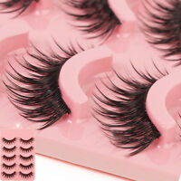 Makeup 5 Pairs Natural Long Fake Eye Lashes Handmade Thick False Eyelashes w/