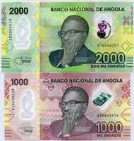 Angola set 2 UNC 1000 2000 Kwanzas 2020 P NEW Polymer