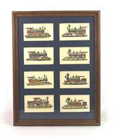 Rare Vintage Framed Lithographs of Locomotives Trains Railroad Prints