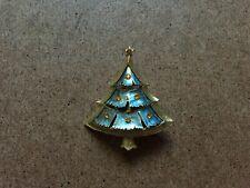 B.J. SIGNED GOLD TONE RHINESTONE CHRISTMAS TREE BROOCH PIN