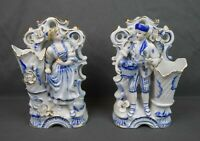 Rare Antique White & Blue Viennese Porcelain Victorian Figurines Vases Bookends