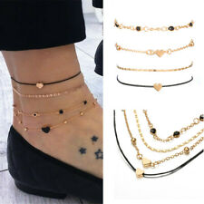 Beads Multilayer Black Rope Chain Summer Beach Heart Anklets Foot Bracelet