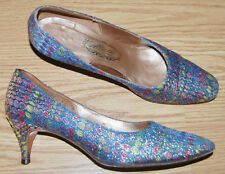 Vintage Custom Made PEACOCK BLUE gold lame pink green dot evening shoe PUMPS 7 B