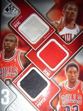 Scottie Pippen, Luol Deng & Derrick Rose UD SP 3 Star Swatches Card