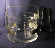 Mid century Modern rock royal crystal ice bucket silver plate fittings l