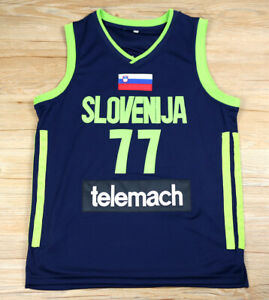 Luka Doncic Slovenia National Basketball Jersey Men's Blue Stitched