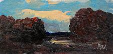 Leuchtende Abendwolken über Moorlandschaft Ölgemälde Miniatur Fred Nömeier *1938