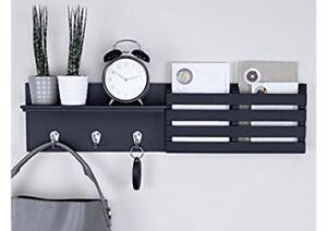 "Mail Holder And Key Rack Wall Shelf W/3 Hooks, 24""x6"", Black"