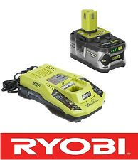 NEW RYOBI 18 VOLT HIGH CAPACITY BATTERY AND DUAL CHEM CHARGER COMBO P108 / P117