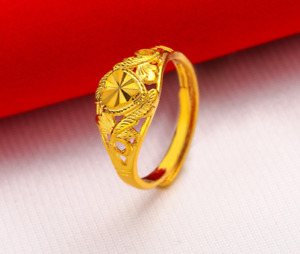 18ct Gold Plated RGP Womens Love Heart Adjustable Open Band Classic Wedding Ring