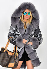 Ladies Army Parka Coat Winter Warm Lined Fur Jacket Womens Style Hood Parker Grey 10