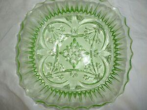 GREEN DEPRESSION GLASS FRUIT OR SALAD BOWL