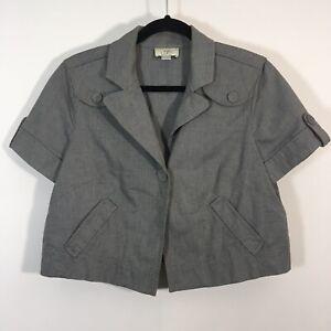 Ann Taylor LOFT Jacket Women Size 10 Gray Button Front Blazer