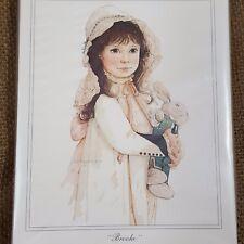 Vtg Brooke Note Cards Set 10ct Girl w Toy Rabbit Jan Hagara Art Victorian Child
