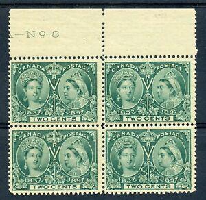 Weeda Canada 52 F MNH plate #8 block of 4, 2c green Jubilee CV $192