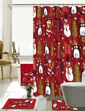 18 Piece Season's Greetings Merry Christmas Bath Set Made with 100% Polyester.