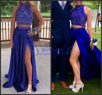 Two Pieces Beading Long Prom Celebrity Pageant Gown Evening Party Formal Dress