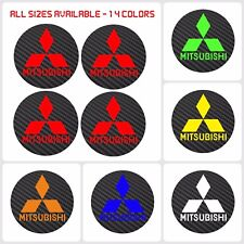 4 MITSUBISHI Carbon Fiber Vinyl Wheel Rims Centre Cap Stickers Decals All Models